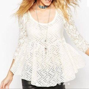 Free People Gracie Lace top |Med | cream